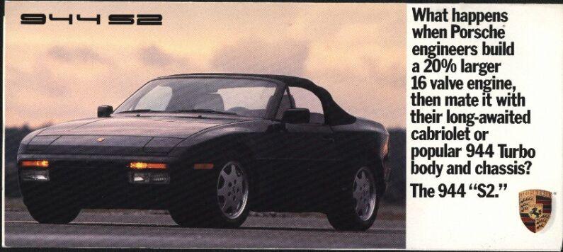 Porsche 944 S2 3.0 Brochure advertising print paper